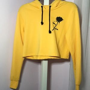 Yellow Cropped Rose Sweatshirt!